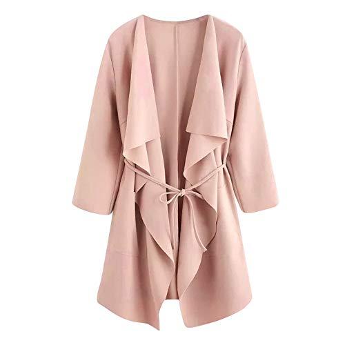 Xmiral Damen Mantel Casual Wasserfallkragen Pocket Front Wrap Medium Lange Strickjacke Jacke Outwear mit Gürtel (S,Rosa) -