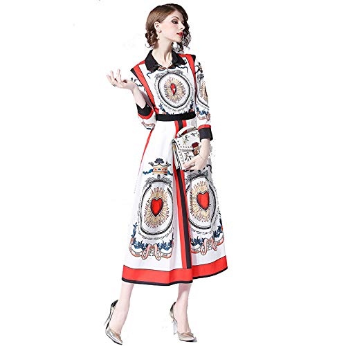 Cxlyq Kleider Vintage Square Neck Langarm Love Print Langes Kleid (Kleid Neck Lang Square)