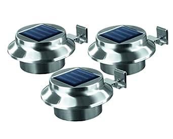 solar dachrinnenleuchten edelstahl 3er set au enbeleuchtung kabellos beleuchtung. Black Bedroom Furniture Sets. Home Design Ideas