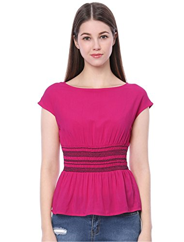 Allegra K Damen Rundhals High Waist Colorblock Peplum Top Bluse Lila XL (EU 48) (Allegra K U-boot-ausschnitt)