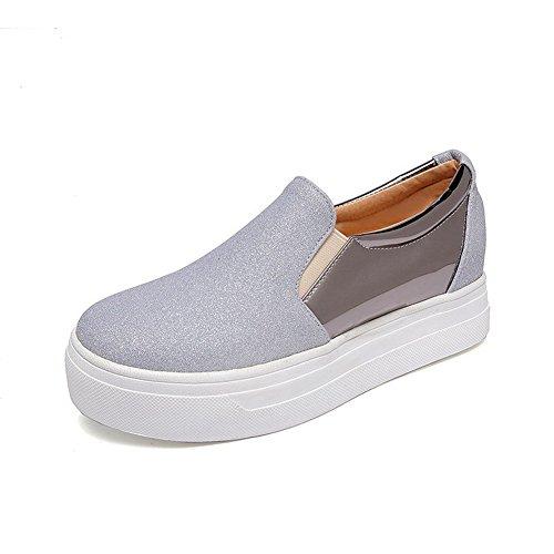 Voguezone009 Sapatos Puxar Salto De De Prata Toe Puro Bombas Torno Senhoras Médio fqFfxwB