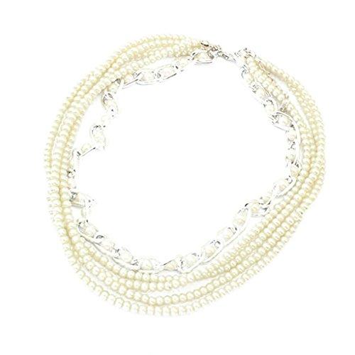 Beydodo Collar de Mujer Cadena Collar Aleación Forma Multicapa Cadena Perla Collar Para Mujer Color Plata