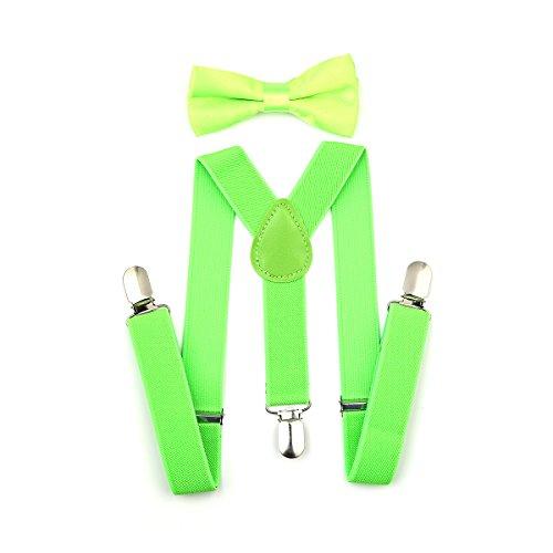 Kinder Hosenträger Y Form mit Fliege - 25mm mit 3 Clips Krawatte Set (Neongrün) (Jungen Fliege Grün)