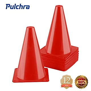 PULCHRA Training Traffic Cones Set of 12 Plastic Small Collapsible Soccer Ball Football Sports Cones Speed Workouts for Speed and Agility Training Practice Equipment (4 Colours) (Red)