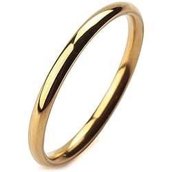 MunkiMix Ancho 2mm Acero Inoxidable Anillo Ring Banda Venda Oro Dorado Tono Alianzas Boda Talla Tamaño 12 Hombre,Mujer