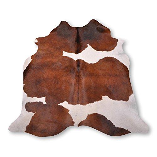 Premium Kuhfell Teppich aus Südamerika - 100% Naturprodukt - whisky braun weiß L215 x B195cm