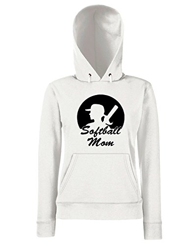 T-Shirtshock - Sweats a capuche Femme FUN0702 baseball mom 2 adhesive vinyl decal 11540 Blanc