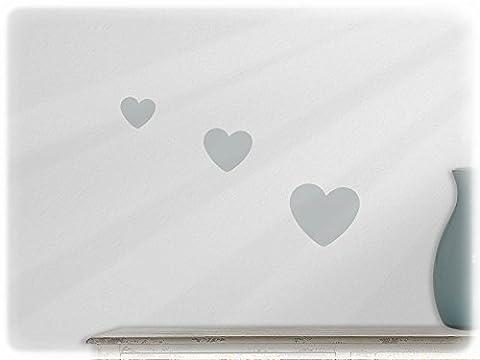 wallfactory - wall decal - 3 practical Hearts (Hz2) in light grey