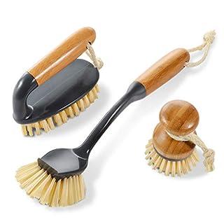 Masthome 3er Reinigungsbürste Set mit natürlichem antibakteriellem Bambus Material, Bambus Bürste Set, 1 Rund Geschirrspülen Pinsel, 1 Fliesenbürste, 1Topfbürste, Handbürsten für Haushalt,Küche, Bad
