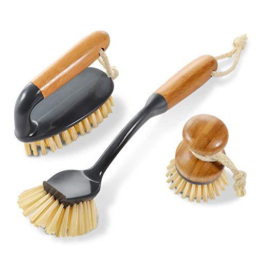 Natürliche Bad-pinsel (Masthome 3er Reinigungsbürste Set mit natürlichem antibakteriellem Bambus Material, Bambus Bürste Set, 1 Rund Geschirrspülen Pinsel, 1 Fliesenbürste, 1Topfbürste, Handbürsten für Haushalt,Küche, Bad)