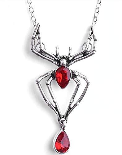 Black Widow Halskette mit Anhänger Spinne Rotkristall Blutrot (Black Widow Halskette)