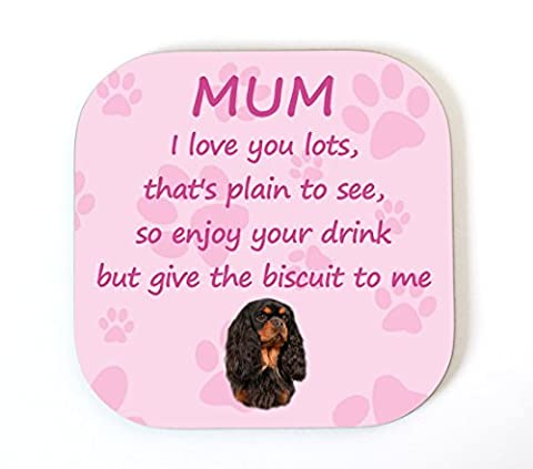 Cavalier King Charles Spaniel Noir/Beige I Love You Mum
