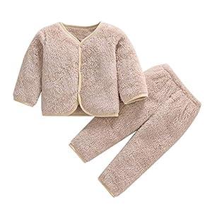 Babes Girls De Manga Larga Otoño Coral Polar Pijama Cálido Top + Pantalones De Dos Piezas Hacen Que Su Bebé Sea Más Atractivo Traje Verde_3T_China 2