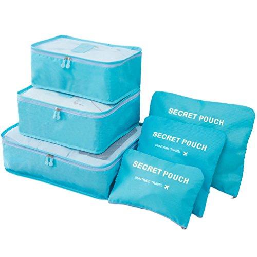 6Pcs Packing Cubes Organisateurs de voyage Sacs essentiels Luggage Com