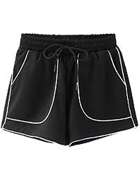 0eae6a9726 FuweiEncore Pantalones Cortos de Mujer Pantalones Cortos de Cintura  Elástica Grandes con Cuerda para el Verano