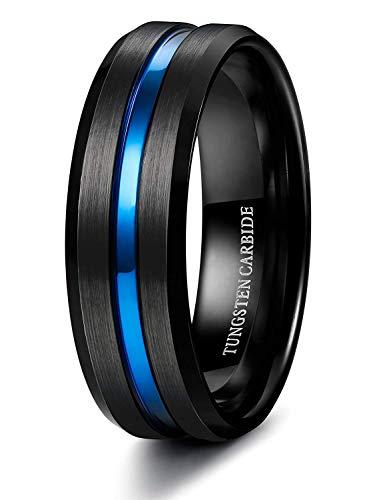 Finrezio 8mm Anillo Tungsteno Hombres Negro Azul Cómodo