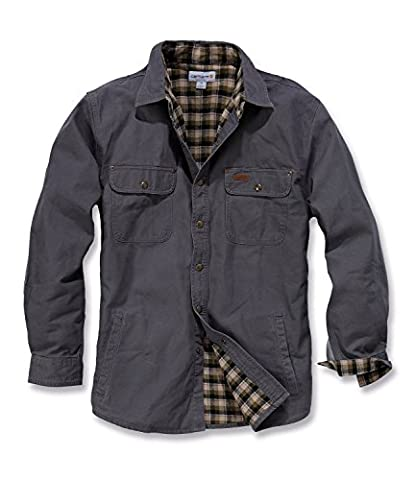 Carhartt Men's Weathered Canvas Workwear Shirt Jacket Gravel Small