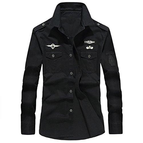 Camicetta superiore da uomo a maniche lunghe con bottoni collo alto, stile militare casual camicia in cotone risvolto t-shirt uomo maglietta maglia maniche lunghe moda(nero,2xl)