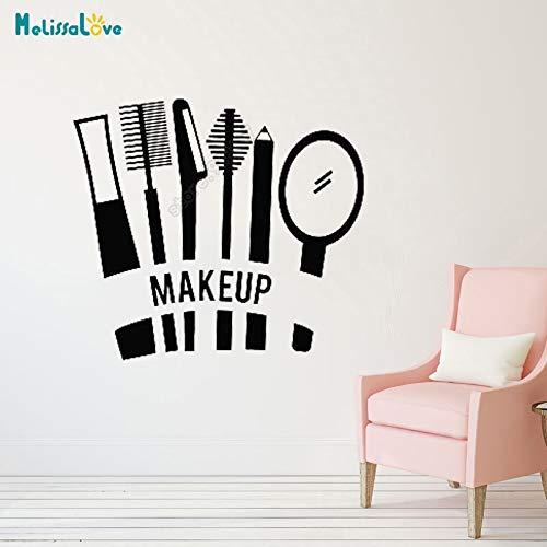 beauty - kosmetik mascara lippenstift make - up grooming aufkleber maniküre laden dekor mädchen einer vinyl - wand - aufkleber b650