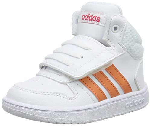 adidas Unisex Baby Hoops 2.0 Mid Sneaker, Weiß (Footwear White/Semi Coral/Real Pink 0), 24 EU
