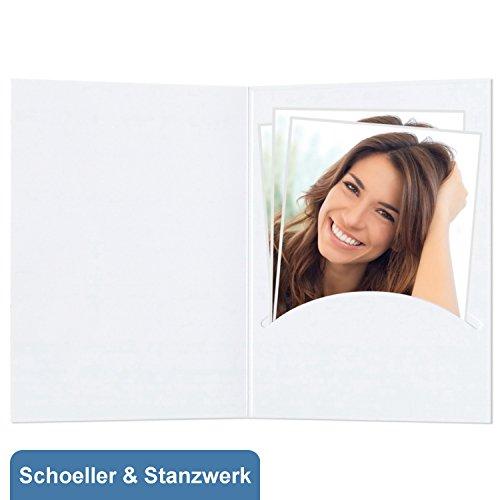 fotomappen bestellen 50 Stück Portraitmappen nur Einsteckschlitz (ohne Passepartout) für 13x18 cm Bilder - weiß matt - Kwick - Schoeller & Stanzwerk