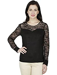 SVT ADA COLLECTIONS SWADE Black Color Designer TOP with NET Sleeves & Yoke