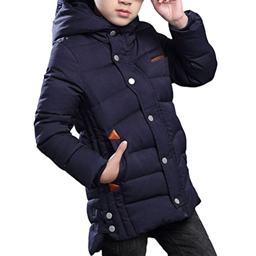 Zhhlinyuan Winter Big Kinder Solid Color Hooded Jacket Cool Boys Thicker Warm Cotton Coats
