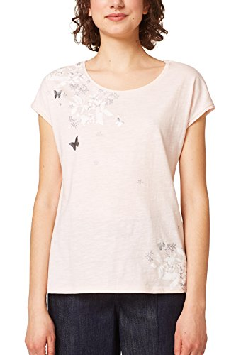 edc by ESPRIT Damen T-Shirt 048CC1K099, Mehrfarbig (Light Pink 690), Small