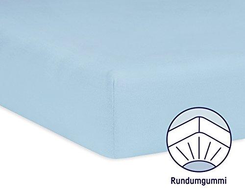 Julius Zöllner 8320113350 – Spannbetttuch Jersery für's Kinderbett, Größe: 60 x 120 cm / 70 x 140 cm, Farbe: hellblau - 2
