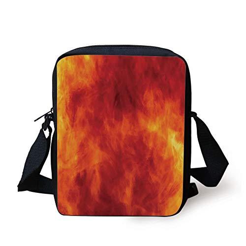 Orange,Graphic of Fire Explosion Vibrant Hot Flames Heat Burning Theme Design Art Print Decorative,Orange Yellow Print Kids Crossbody Messenger Bag Purse