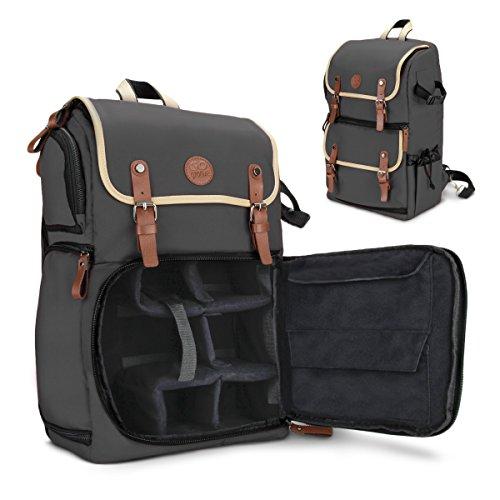 Gogroove Rucksackbehälter für DSLR-Kamera verwendbar für Photographie-Utensilien und Laptops auf Reisen. Mit Stauraum für Zubehör, Stativhalter und wetterfestem Regenschutz, für Sony a6000, Canon EOS T6, Nikon D5500