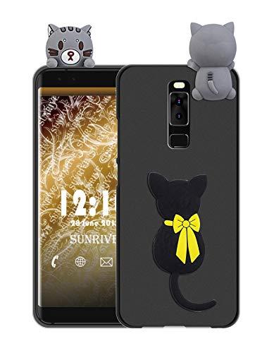 Sunrive Für Leagoo S8 Hülle Silikon, Handyhülle matt Schutzhülle Etui 3D Case Backcover Tiere Muster Cover Handy Tasche Bumper(W1 Katze)+Gratis Universal Eingabestift