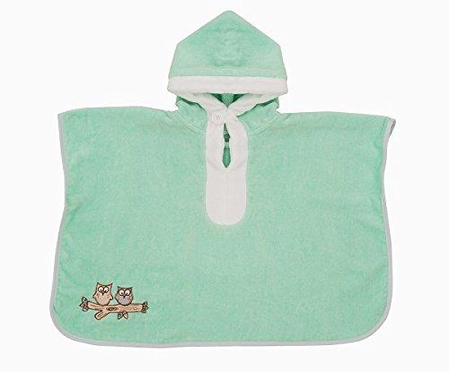 Schlummersack kuschelig weicher Badeponcho mit Kapuze Mint Eule für Kinder 1-3 Jahre