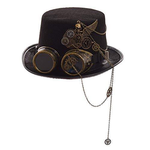 GRACEART Steampunk Hut Zylinder mit Brille (Verschiedene Stile), Style-10, Head circumferences-61CM