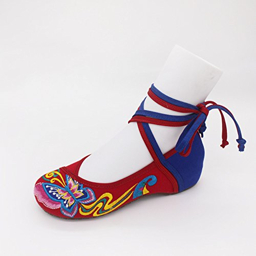 &hua scarpe farfalla ricamata, unico tendine, stile etnico, femaleshoes, moda, comodi, scarpe da ballo red and blue