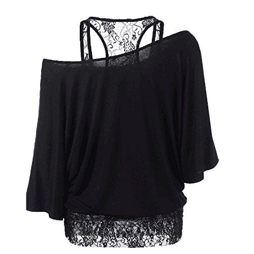 Tops T-Shirt Covermason Femmes Plus Size dentelle lâche occasionnels Tops Blouse manches longues Noir