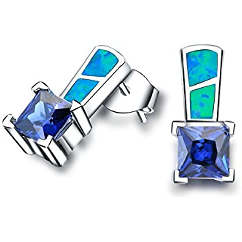 In argento Sterling 925, Opale sintetici blu con stud orecchini per donne