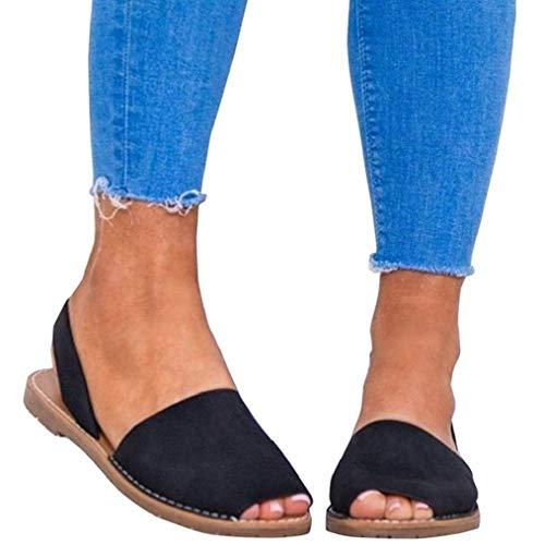 Sandalen Damen Sommer Sandaletten Flachen Frauen Knöchelriemchen Espadrille Plateau Flip Flop Sommersandalen Bequeme Elegante Schuhe Schwarz Weiß Rosa Gr.34-44 BK36 -