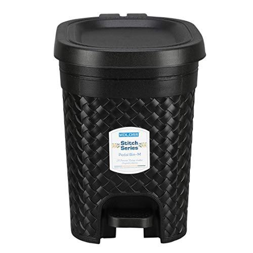 Kolorr Stitch Pedal Waste Bin Modern Design Trash Can Plastic Dustbin - 7L (Black)
