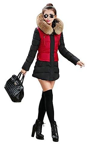 YMING Damen Winter Übergangsmantel Daunenmantel Daunenjacke Lang Mantel Jacke Parka Mit Kunstpelz Kapuze,Rot M