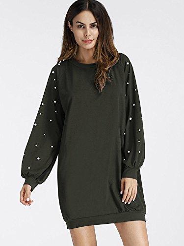 ROMWE Damen Elegant Sweatshirt Kleid mit Perlen Raglanärmel Lockeres Lässiges Kleider Armee Grün S