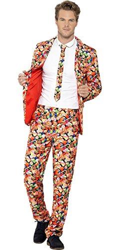 Kostüm Süßigkeiten Nerds (erdbeer-clown - Herren Candy Men Süßigkeiten-Optik Anzug mit Jacke, Hose und Krawatte, M,)