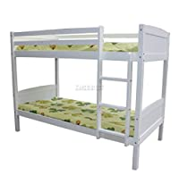 WestWood 3FT Bunk Bed Wooden Frame Children Sleeper No Mattress Single White Furniture New