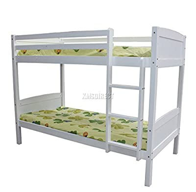 FoxHunter 3FT Bunk Bed Wooden Frame Children Sleeper No Mattress Single White Furniture New