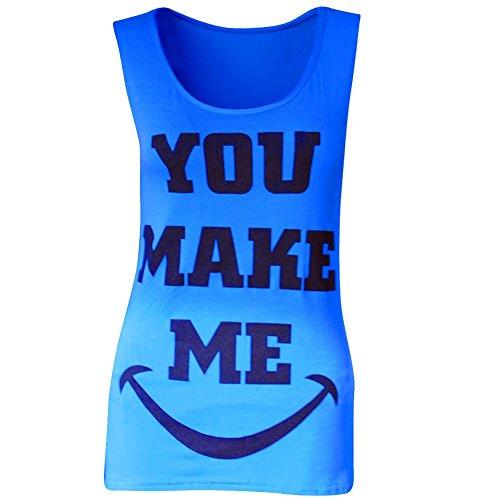 Da donna ragazza You Make Me Smile gilet estate canottiera da donna T-Shirt Blu