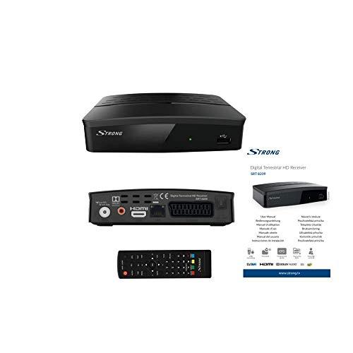 STRONG SRT 8209 Décodeur TNT Full HD DVB-T2, Récepteur HEVC avec fonction enregistreur (HDMI, Péritel/SCART, USB, LAN, RSS) Noir