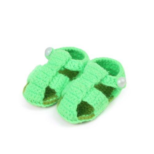 Yue Derrapante Sapatos Bebê Malha Unisex Feitos De Sapatos Sapatos Mão Anti Verde De Tricô Néon Únicos Walker Backstrap À Lian rgxn67rq