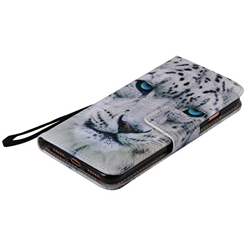 Custodia iPhone 7 Plus/iPhone 8 Plus,Gray Plaid Premium PU Pelle Protettiva Flip Portafoglio Cover Case per iPhone 7 Plus/iPhone 8 Plus - Albero colorato Leopardo bianco