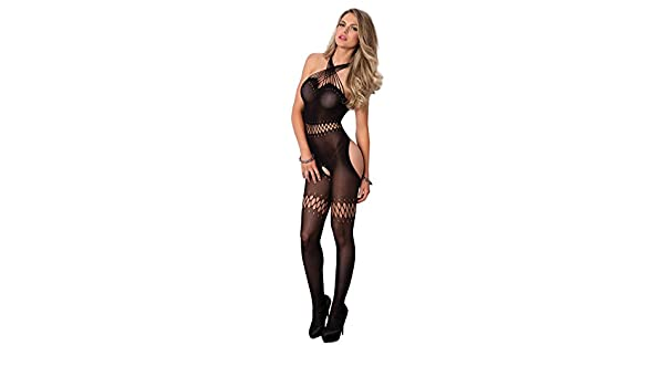 f9c5c8a9a3a76 Raunchy Sheer Bare Bottom Crotchless Bodystocking with Halter Neck, Black:  Amazon.co.uk: Clothing