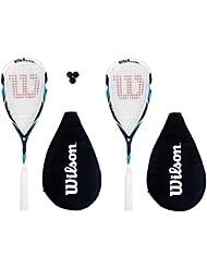 Wilson Pro Wettbewerb Squash Racketts + Kopfbedeckung + 3 Squashbälle